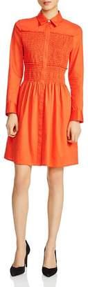 Maje Roumpa Smocked Shirt Dress