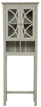"URBAN RESEARCH Glitzhome 68.26""H Bathroom Wooden Over the Toilet Storage Cabinet, with 2 Glass Doors, Gray"