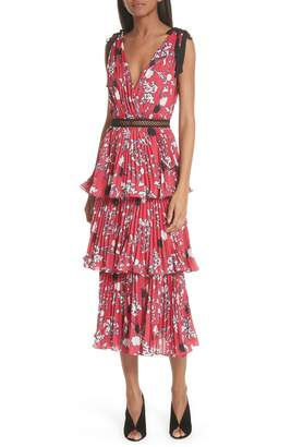 Self-Portrait Pleated Tier Midi Dress