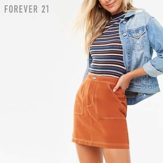 Forever 21 (フォーエバー 21) - Forever 21 コントラストステッチツイルミニスカート