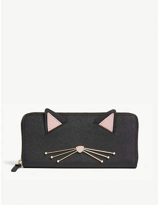 Kate Spade Lindsey cat Saffiano leather continental wallet