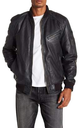 BOSTON HARBOUR VINTAGE Knit Trim Leather Bomber Jacket
