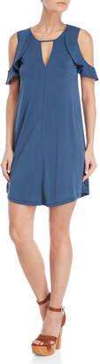 Jessica Simpson Navy Cold Shoulder Keyhole Shift Dress