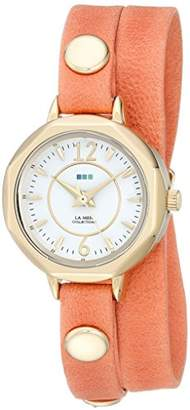 La Mer Women's LMDELMARDW1504 Cantaloupe Gold Del Mar Stainless Steel Watch with Orange Wrap-Around Leather Band