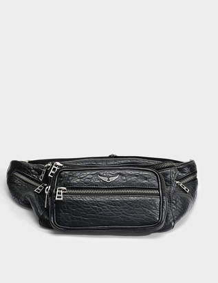 Zadig & Voltaire Bubble Fanny Pack in Black Sheepskin