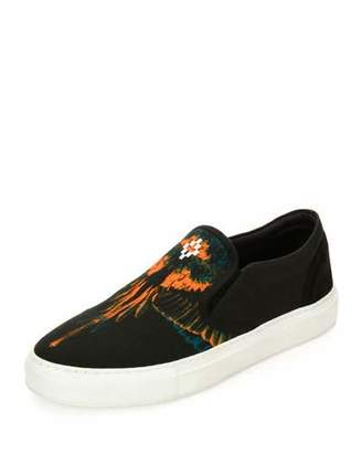 Marcelo Burlon Cerro Blanco Leather Slip-On Sneaker, Black/Orange $295 thestylecure.com