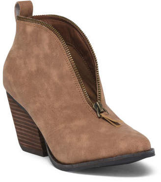 Stacked Heel Western Ankle Booties