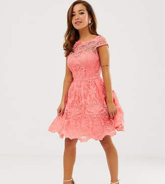 Chi Chi London Petite premium lace mini dress with scalloped neck in coral