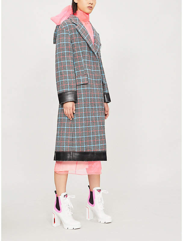 Bow-motif checked wool-blend coat