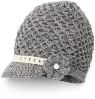 Sijjl SIJJL Women's Crochet Brim Wool Beanie