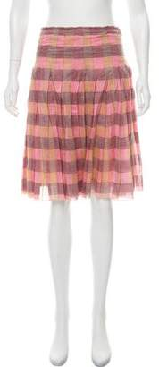 Prada Plaid Pleated Skirt