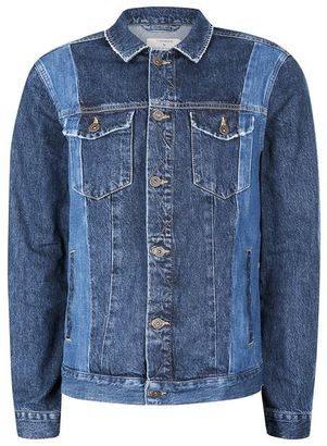 Blue Panelled Denim Jacket $100 thestylecure.com