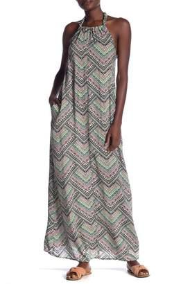 Love Stitch Printed Halter Maxi Dress
