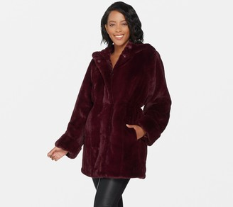 Dennis Basso Zip Front Faux Fur Coat with Hood and Waist Detail