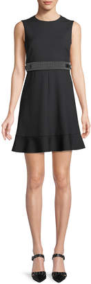 RED Valentino Cady Tech Sleeveless Dress with Microstudded Waist