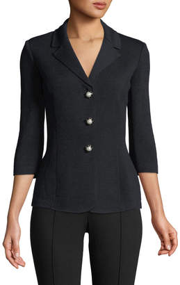 St. John Santana Knit 3/4-Sleeve Pearly-Button Blazer
