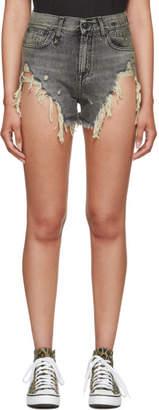R13 Black Shredded Slouch Denim Shorts