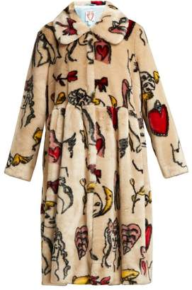 BEIGE Shrimps - Eilis Printed Faux Fur Coat - Womens Multi