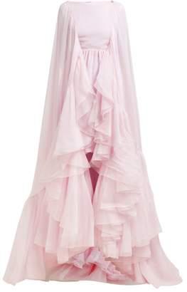 Giambattista Valli Cape Sleeved Ruffled Silk Chiffon Gown - Womens - Pink