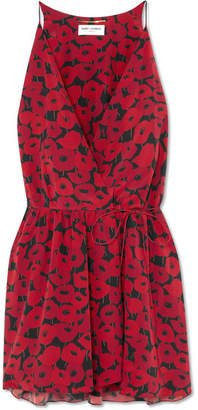 Saint Laurent Floral-print Silk Wrap Mini Dress - Red