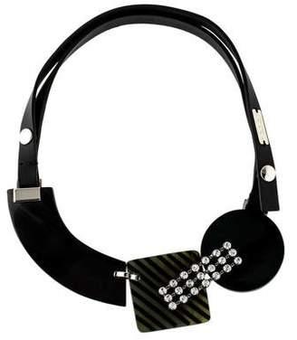 Marni Horn, Crystal & Leather Collar Necklace
