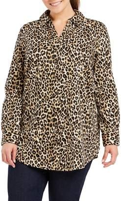 Foxcroft Faith Leopard Print Tunic Shirt