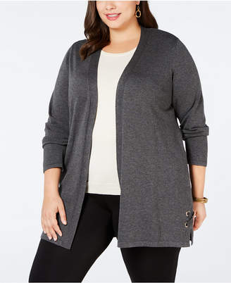 JM Collection Plus Size Grommet Lace-Up Cardigan, Created for Macy's