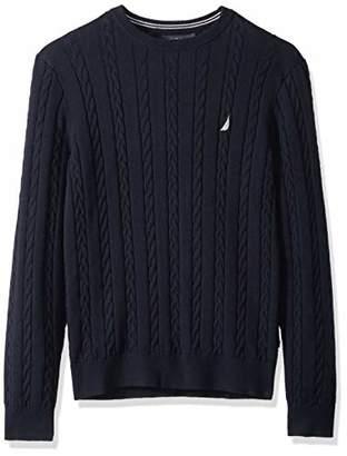 Nautica Men's Allover Multi-Cable Crewneck Sweater
