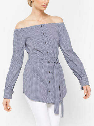 Michael Kors Gingham Cotton-Poplin Off-The-Shoulder Tunic