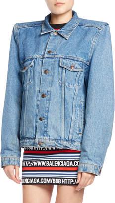 Balenciaga Boxy Denim Jacket with Shoulder Pads, Blue