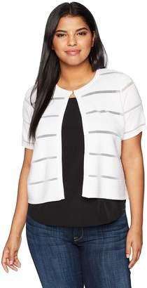 Calvin Klein Women's Plus Size Short Sleeved Striped Shrug