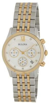 Bulova Women's Classic Chronograph Diamond Accented Bracelet Watch, 30mm