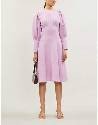 N. DUO Violet puff-sleeve cotton-blend midi dress