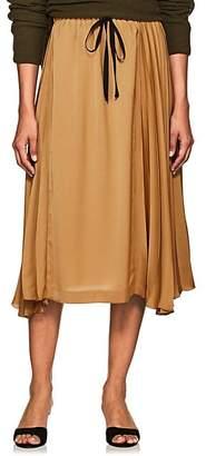 Pas De Calais Women's Pleated Satin Drawstring Skirt - Mustard