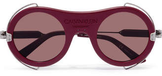Calvin Klein Round-frame Acetate And Silver-tone Sunglasses - Burgundy