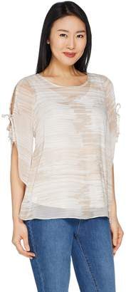 Halston H By H by Flutter Sleeve Printed Chiffon Top