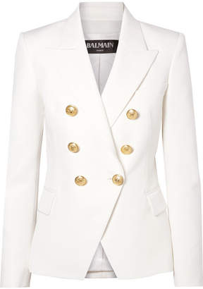 Balmain Double-breasted Grain De Poudre Wool Blazer