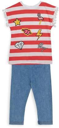Betsey Johnson Little Girl's Two-Piece Stripe Top and Capri Pants Set