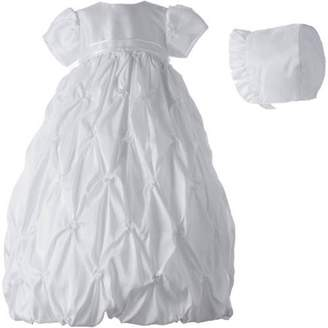 Generic Christening Baptism Newborn Baby Girl Special Occasion Taffeta Long Dress w/ Allover Puckered Embroidery