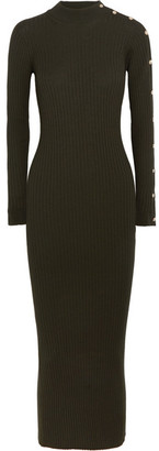 Versace - Button-embellished Ribbed Wool-blend Midi Dress - Army green