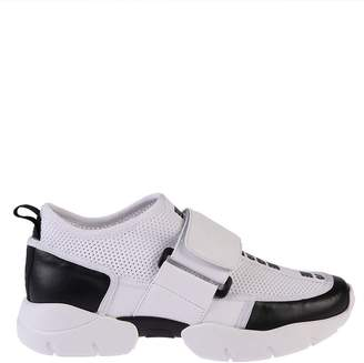 MSGM White And Black Mesh Sneakers