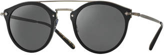 Oliver Peoples Remick Mirrored Brow-Bar Sunglasses, Semi Matte Black/Antique Pewter