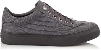 Jimmy Choo ACE Slate Crocodile Printed Nubuck Leather Low Top Trainers