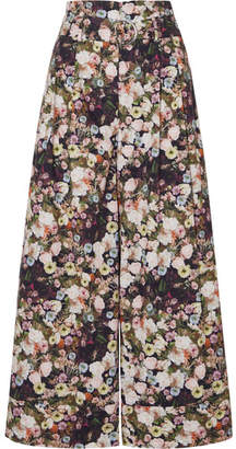 ADAM by Adam Lippes Oversized Belted Floral-print Cotton-poplin Pants - Black