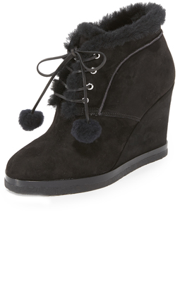 Michael Kors Collection Chadwick Pom Pom Wedge Booties $550 thestylecure.com