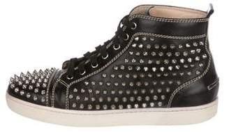 Christian Louboutin Leather Louis Spikes Sneakers