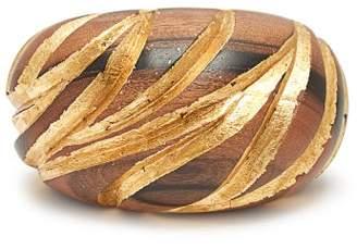 Saint Laurent Engraved Wooden Cuff - Womens - Brown