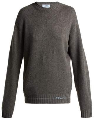 Prada Logo Intarsia Cashmere Sweater - Womens - Grey