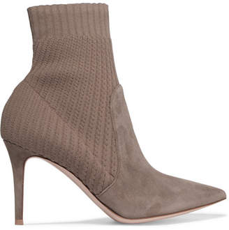 Gianvito Rossi Katie 85 Suede And Ribbed-knit Sock Boots - Taupe