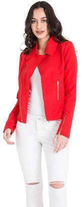 MISS HALLADAY Red Asymmetric Zip Blazer Jacket